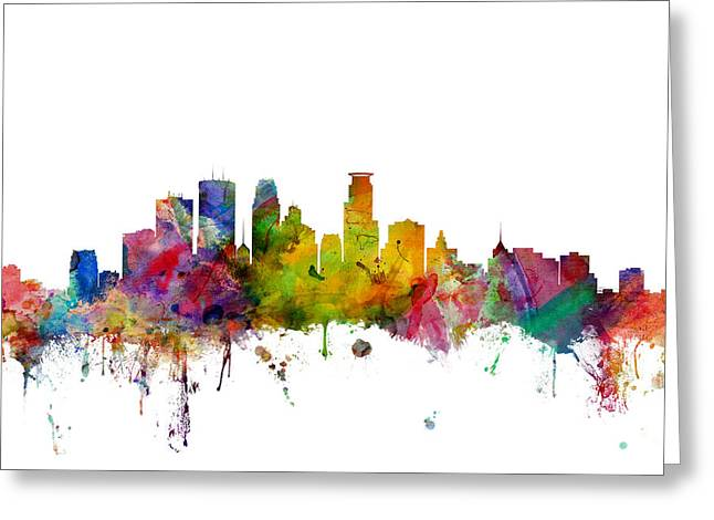 United States Greeting Cards - Minneapolis Minnesota Skyline Greeting Card by Michael Tompsett