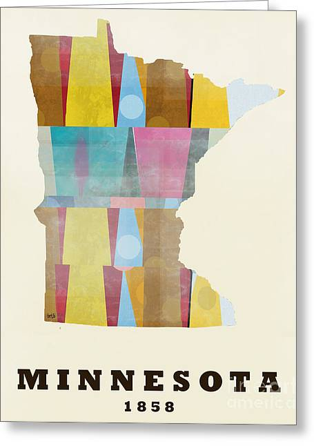 World Map Print Paintings Greeting Cards - Minneosta State Map Modern Greeting Card by Bri Buckley
