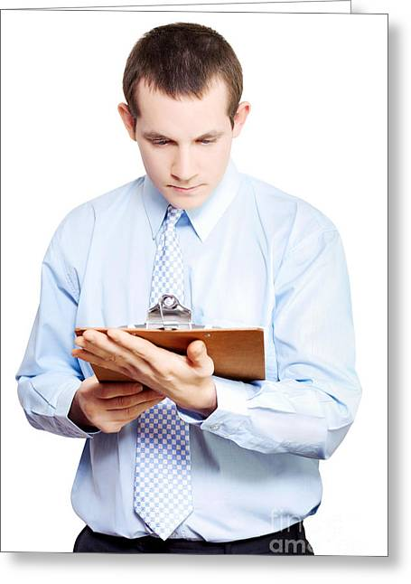 Absorb Photographs Greeting Cards - Minute taking businessman reading meeting notes Greeting Card by Ryan Jorgensen