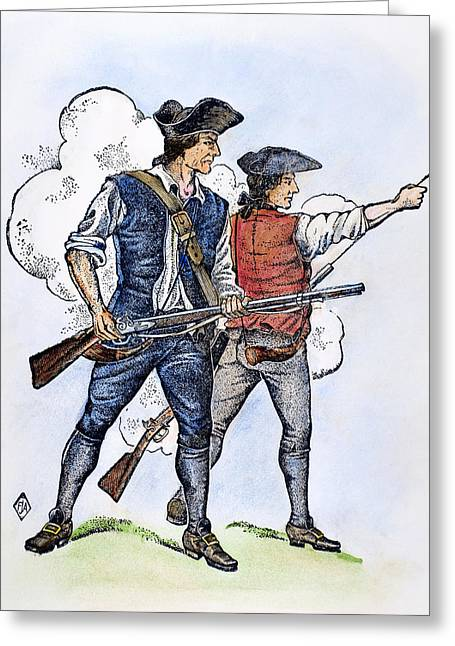 1770s Greeting Cards - MINUTEMEN, 1770s Greeting Card by Granger