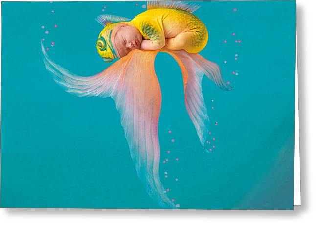 Babies Greeting Cards - Mira as a Tropical Fish Greeting Card by Anne Geddes