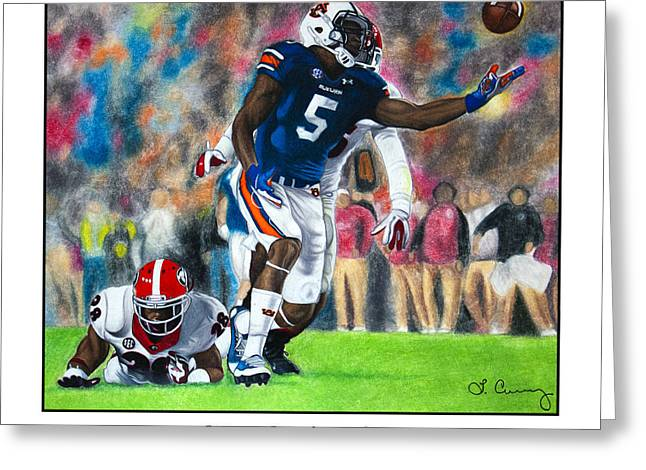 Miracle At Jordan-hare Greeting Card by Lance Curry