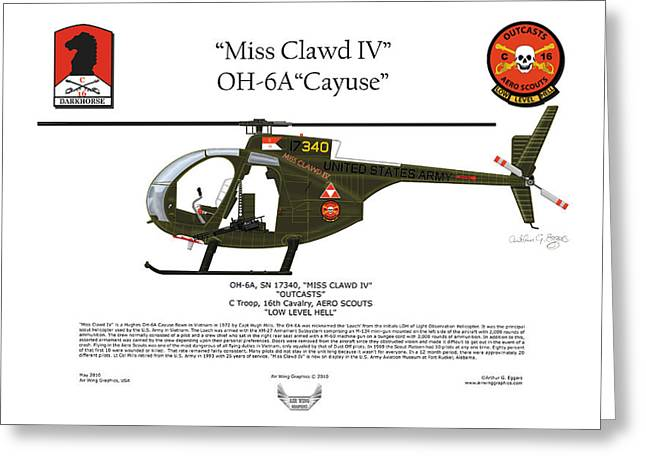 Steve Eggers Greeting Cards - Miss Clawd IV OH-6A Loach Greeting Card by Arthur Eggers