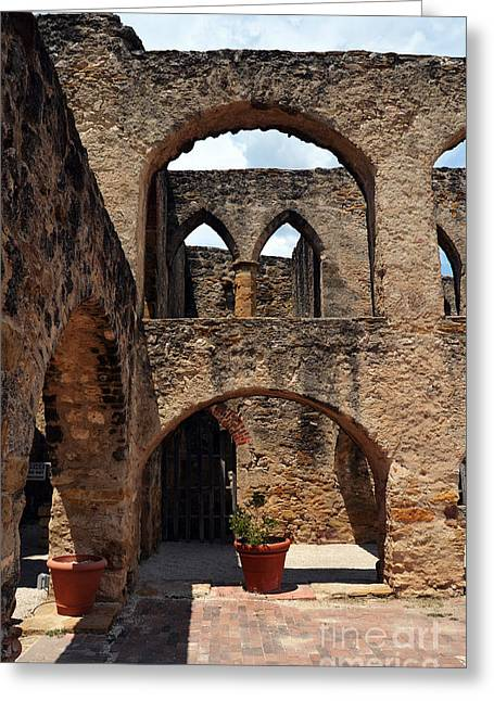 National Park Greeting Cards - Mission San Jose Promenade Arches and Courtyard in San Antonio Missions National Historical Park Greeting Card by Shawn O