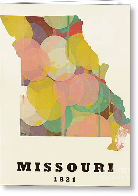World Map Print Paintings Greeting Cards - Missouri State Map Modern Greeting Card by Bri Buckley