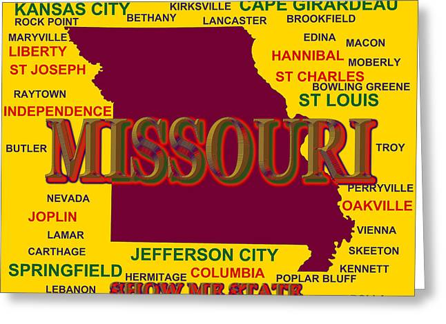 Joplin Greeting Cards - Missouri State Pride Map Silhouette  Greeting Card by Keith Webber Jr