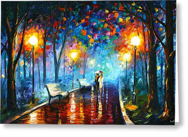 Love Poetry Greeting Cards - Misty Mood Greeting Card by Leonid Afremov