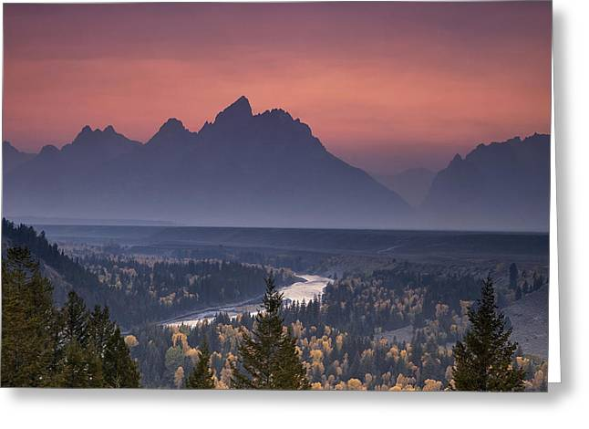 Mountains Greeting Cards - Misty Teton Sunset Greeting Card by Andrew Soundarajan