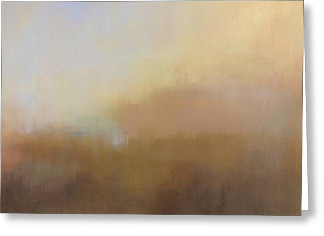 Mist Paintings Greeting Cards - Misty View from Above Greeting Card by Jacquie Gouveia