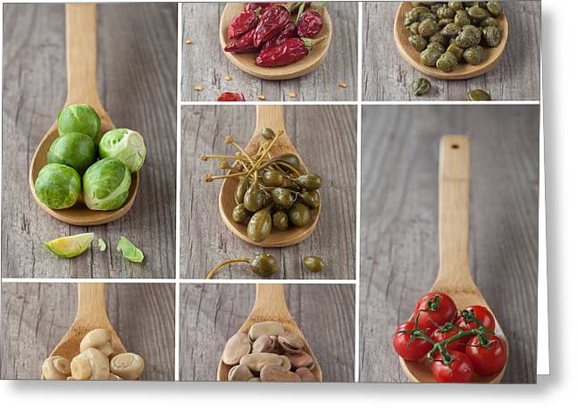 Green Beans Greeting Cards - Mixed vegetables collage Greeting Card by Sabino Parente