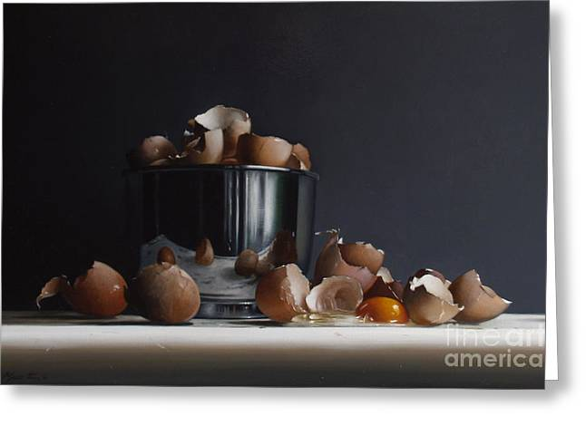 Stainless Steel Greeting Cards - Mixing Bowl With Eggs Greeting Card by Larry Preston