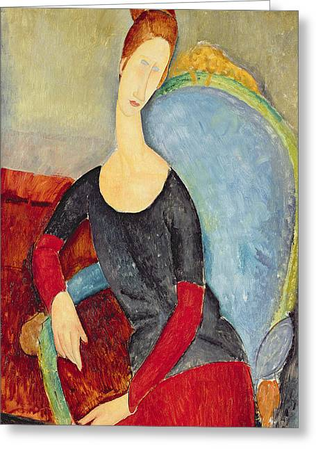 Modigliani Greeting Cards - Mme Hebuterne In A Blue Chair Greeting Card by Amedeo Modigliani
