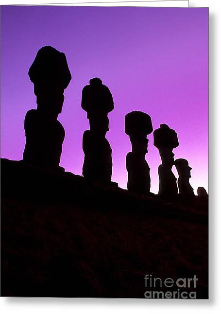 Genocides Greeting Cards - Moais Easter Island Chile Greeting Card by Ryan Fox