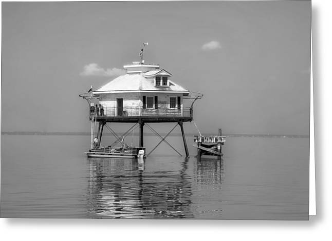 Sea Platform Greeting Cards - Mobile Bay Lighthouse Greeting Card by Mountain Dreams