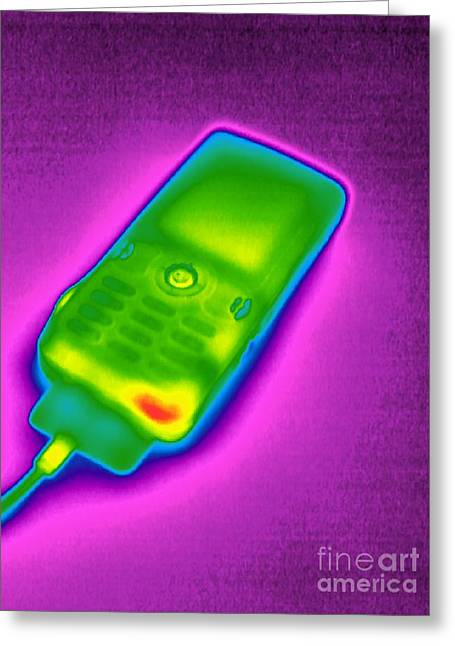 Cellphone Greeting Cards - Mobile Phone On Charge, Thermogram Greeting Card by Tony McConnell