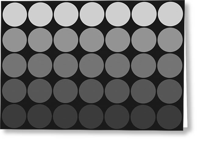 Gunmetal Greeting Cards - Mod Pop gradient circles black and white Greeting Card by Denise Beverly