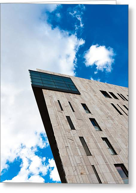 Geometric Pyrography Greeting Cards - Modern building angle shot against blue sky Greeting Card by Oliver Sved