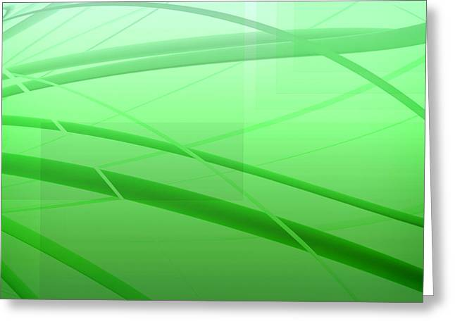 Geometric Shape Greeting Cards - Modern Green Abstract Greeting Card by GP Images