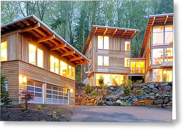Modern Home In Woods Greeting Card by Will Austin