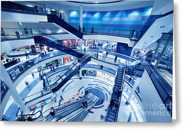 Modern Shopping Mall Interior Greeting Card by Michal Bednarek