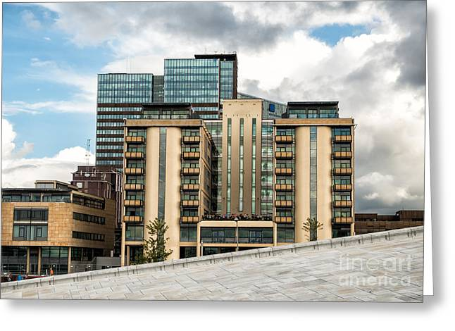 Modern Skyline Near The Harbor In Oslo Norway Greeting Card by Frank Bach