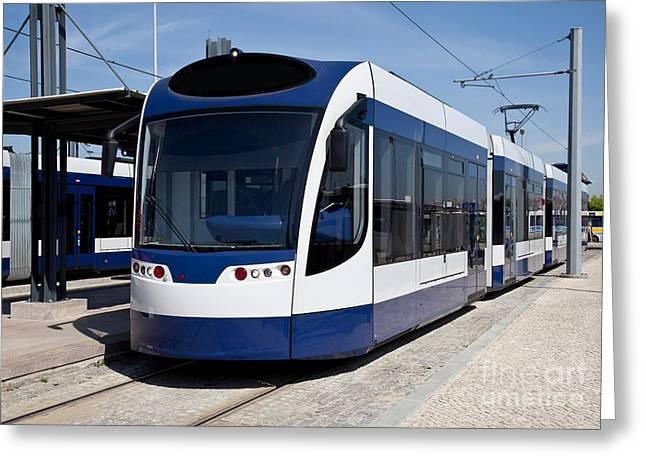 Ecologic Greeting Cards - Modern tram Greeting Card by Jose Elias - Sofia Pereira