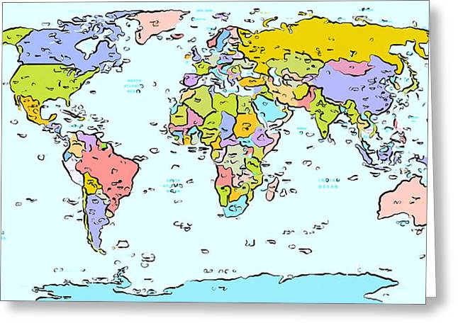 Planet Map Paintings Greeting Cards - Modern World Map Greeting Card by Celestial Images