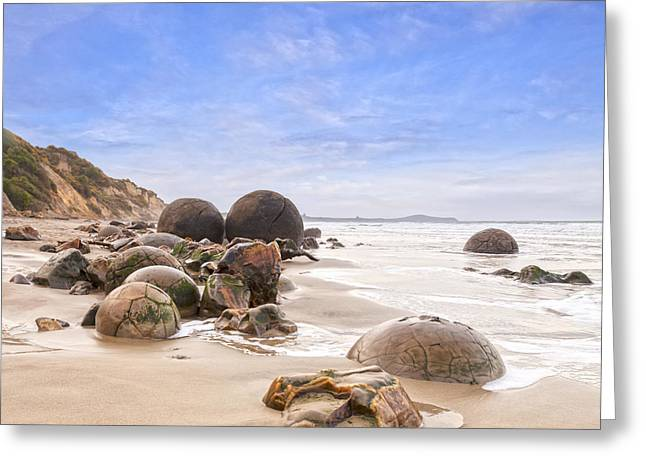 Beach Scenery Greeting Cards - Moeraki Boulders Otago New Zealand Greeting Card by Colin and Linda McKie