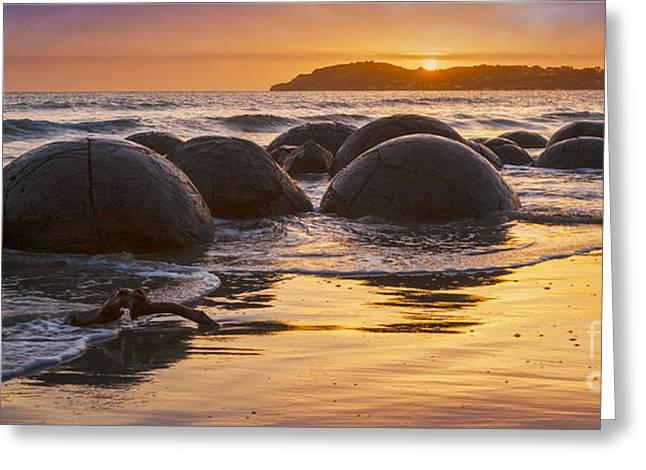 Beautiful Scenery Greeting Cards - Moeraki Boulders Otago New Zealand Sunrise Greeting Card by Colin and Linda McKie