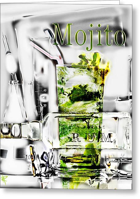 Libation Mixed Media Greeting Cards - Mojito Greeting Card by Russell Pierce