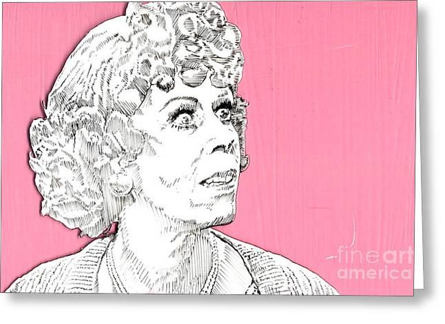 momma on pink Greeting Card by Jason Tricktop Matthews