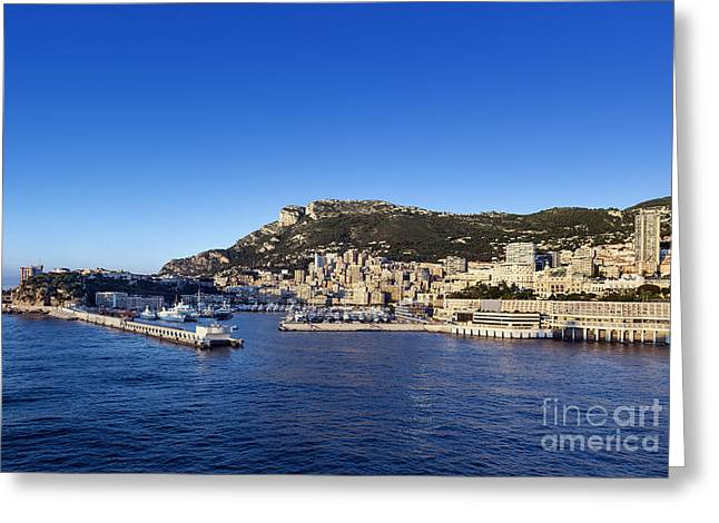 Ocean Panorama Greeting Cards - Monaco Harbor Greeting Card by John Greim