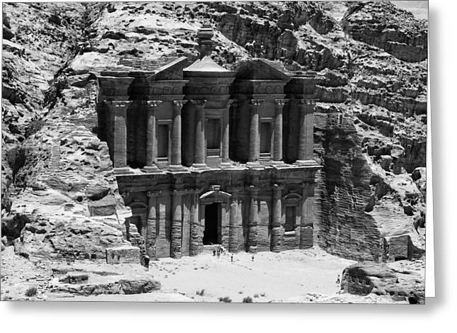 Abstractart Pyrography Greeting Cards - Monastery of Petra Greeting Card by Ernesto Cinquepalmi
