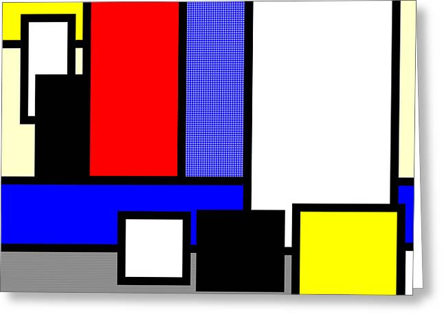 Geometric Abstraction Mixed Media Greeting Cards - Mondrian Composition Greeting Card by Adam Asar