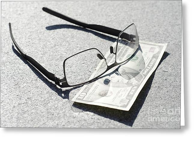 Coins Greeting Cards - Money and eyeglasses Greeting Card by Mats Silvan