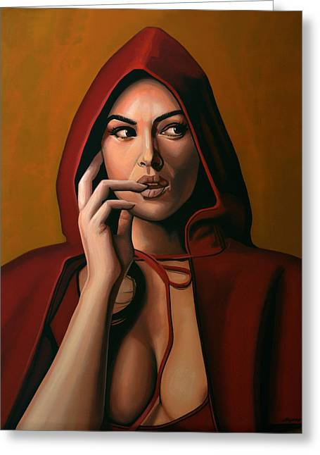 Torn Paintings Greeting Cards - Monica Bellucci Greeting Card by Paul  Meijering