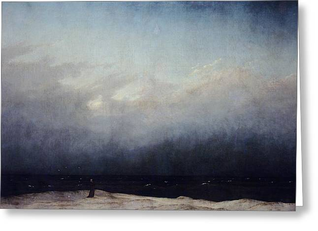 Foggy Ocean Paintings Greeting Cards - Monk by sea Greeting Card by  Caspar David Friedrich