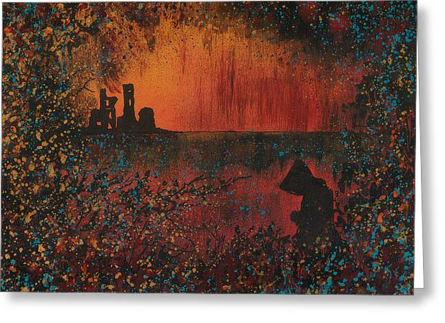 Haze Paintings Greeting Cards - Monks Retreat Greeting Card by Emma Childs