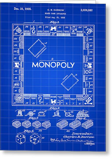 Best Sellers -  - Monopoly Greeting Cards - Monopoly Patent 1935 - Blue Greeting Card by Stephen Younts