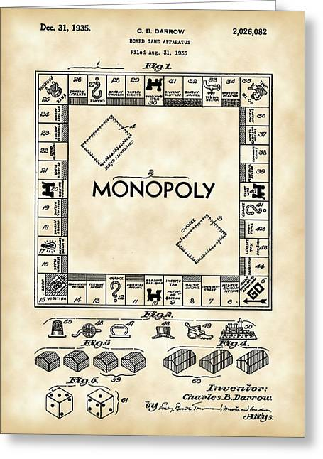 Monopoly Greeting Cards - Monopoly Patent 1935 - Vintage Greeting Card by Stephen Younts