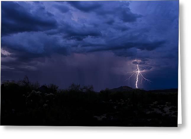 Arizona Lightning Greeting Cards - Monsoon Magic Greeting Card by Saija  Lehtonen