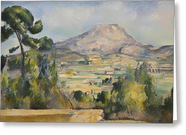 Victoire Paintings Greeting Cards - Montagne Saint-victoire Greeting Card by Paul Cezanne