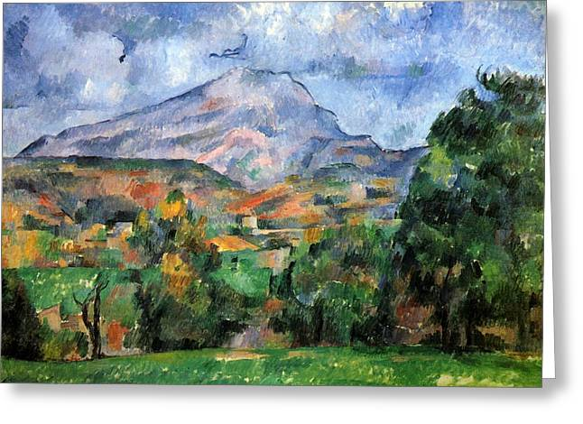 Victoire Paintings Greeting Cards - Montagne Sainte-Victoire Greeting Card by Paul Cezanne