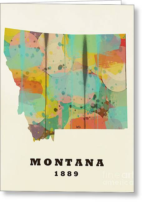 World Map Print Paintings Greeting Cards - Montana State Map Modern Greeting Card by Bri Buckley