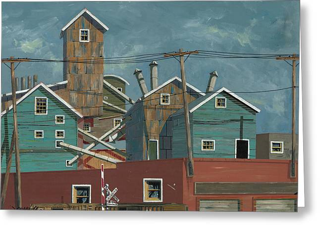 Montana Greeting Cards - Montana Street Crossing Greeting Card by John Wyckoff