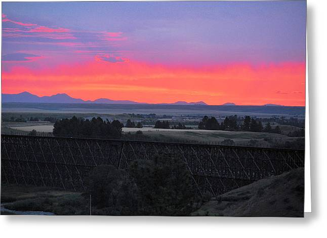 Lewistown Greeting Cards - Montana Sunset Greeting Card by Tommy Ray Fowler