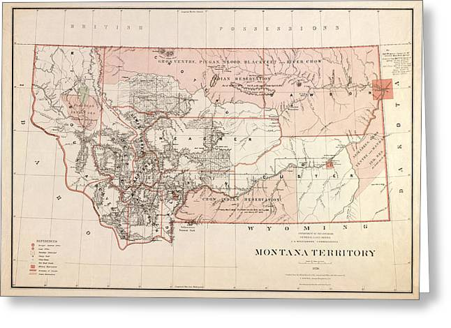 Montana Map Greeting Cards - Montana Vintage Antique Map Greeting Card by World Art Prints And Designs