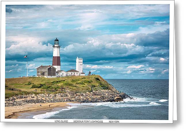 Points Pyrography Greeting Cards - Montauk Point Light. Greeting Card by America Roadside