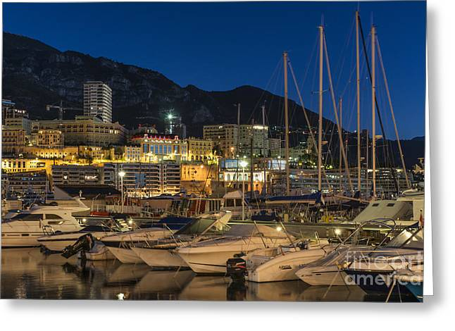 Marina Night Greeting Cards - Monte Carlo Harbor Greeting Card by John Greim