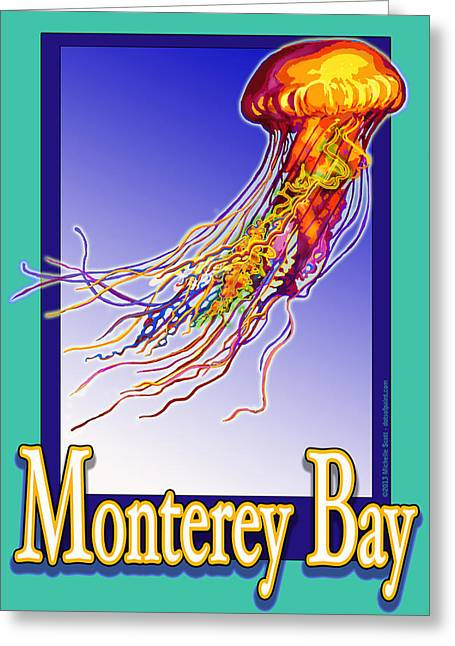 Monterey Bay Jellyfish Greeting Card by Michelle Scott